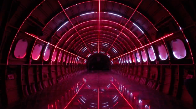 light and sound installation inside a plane